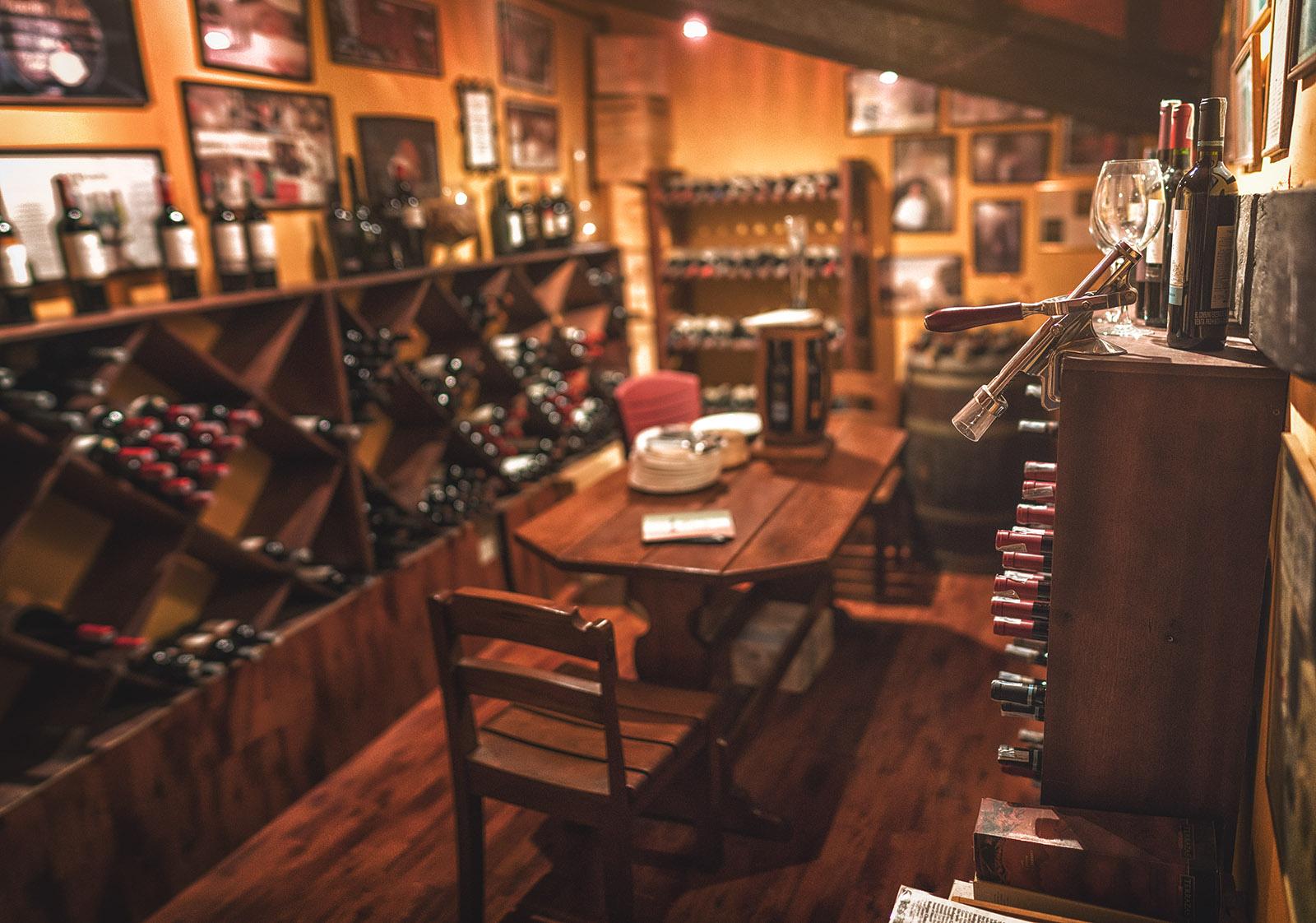 Increíble colección de vinos.